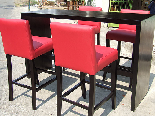 Contemporary Outdoor Barstools - leather